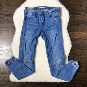 Zara Trafaluc Distressed Medium Wash Skinny Jeans